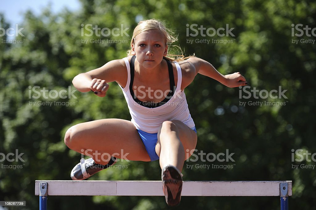 Hurdle practicing royalty-free stock photo