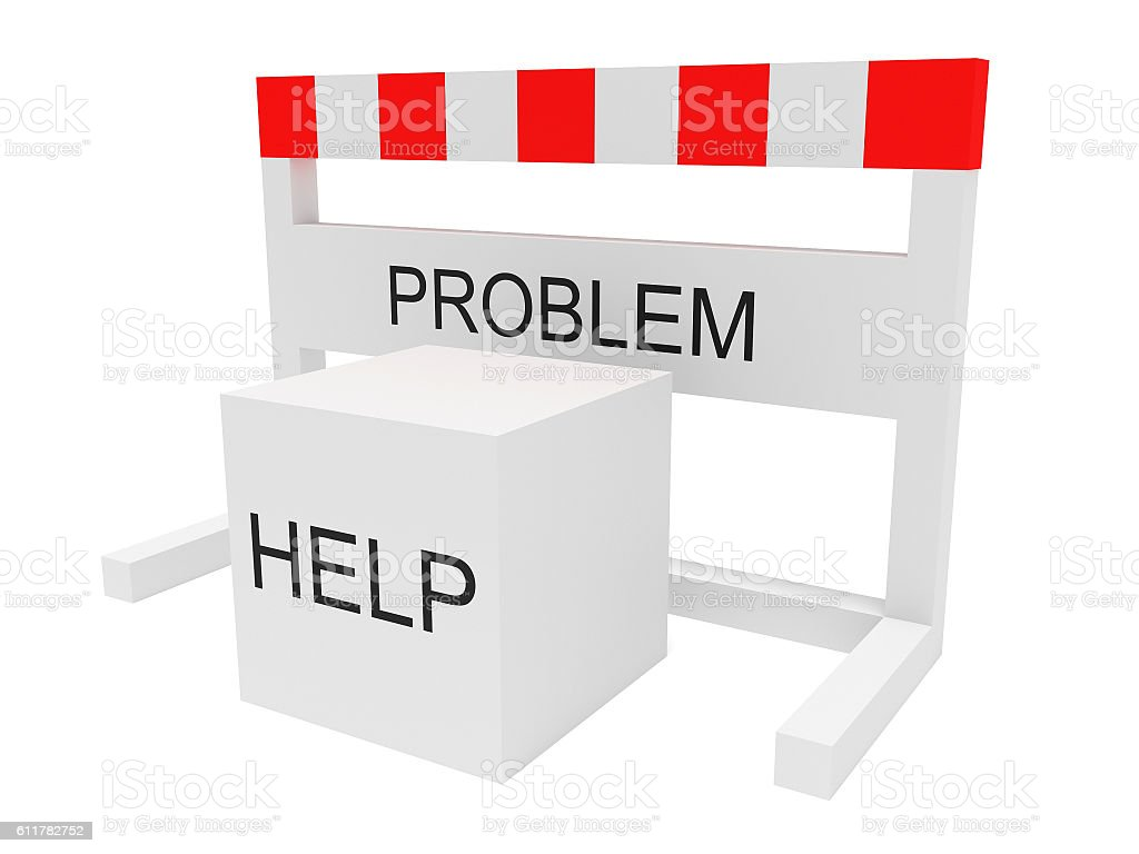 Hurdle Problem And Help Cube, 3d illustration on white background stock photo