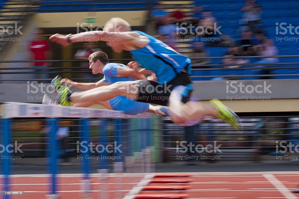 Hurdle race 110 m stock photo