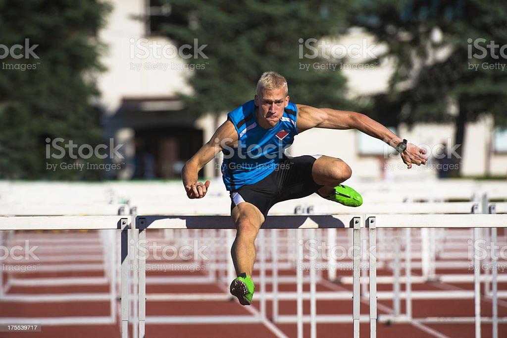 Hurdle race 110 m stock photo