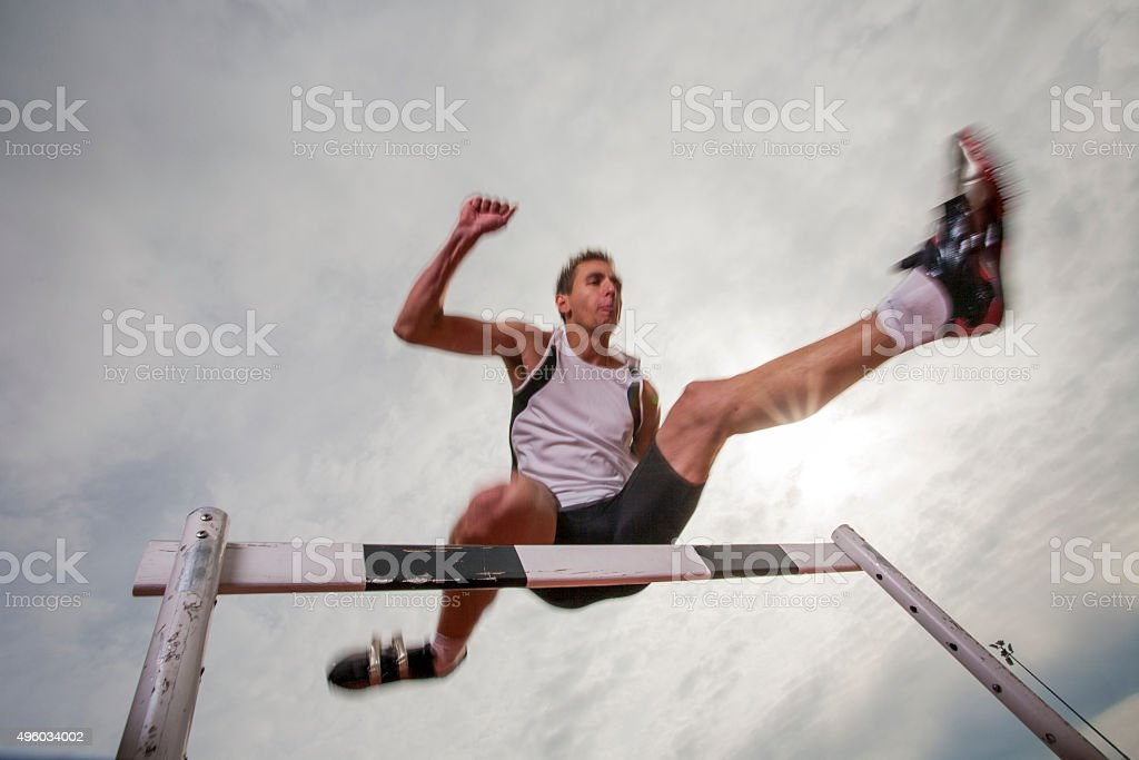 Hurdle race stock photo