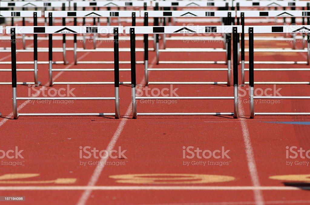 Hurdles at a track meet stock photo