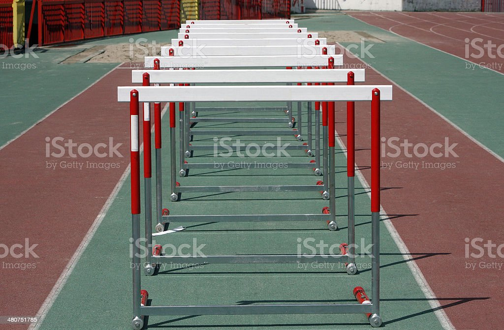 Hurdles Athletics stock photo