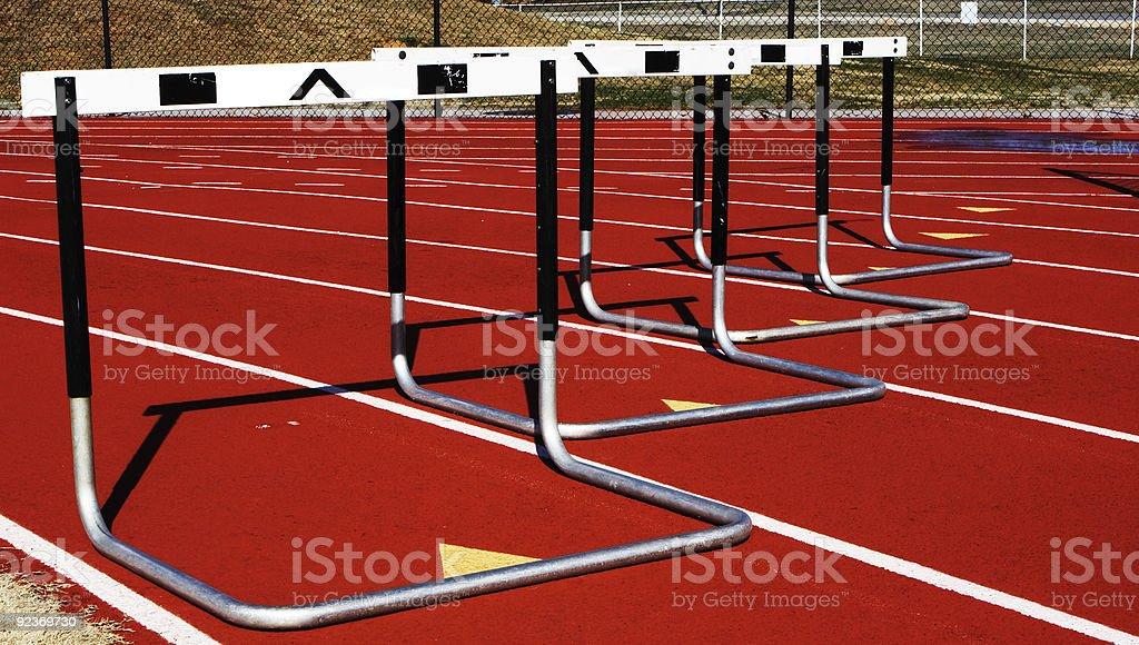 Hurdles in a turn royalty-free stock photo