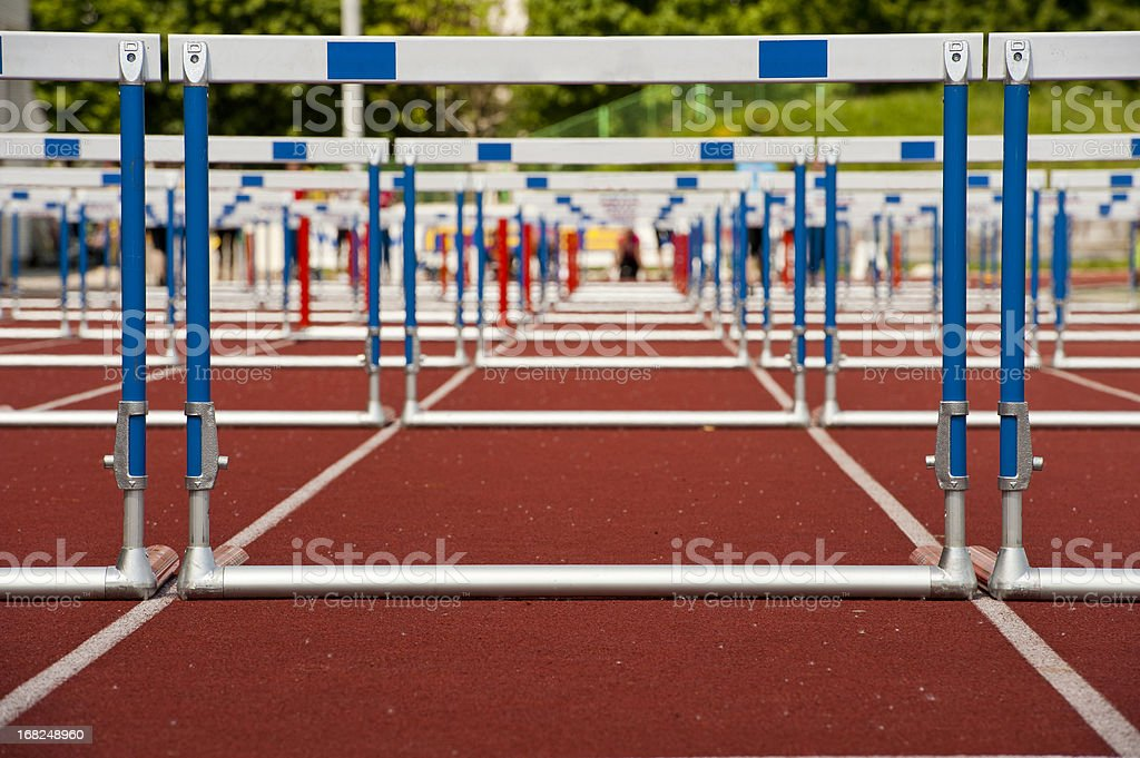 Hurdles ready for race stock photo