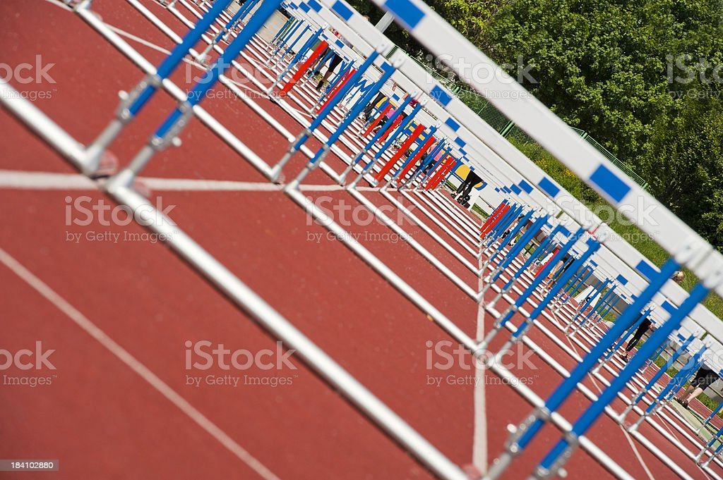 Hurdles ready for race royalty-free stock photo