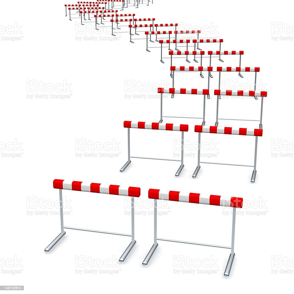 Hurdles track stock photo