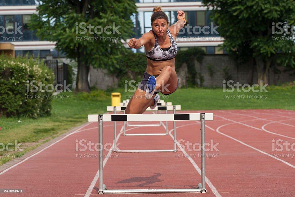 Hurdling stock photo