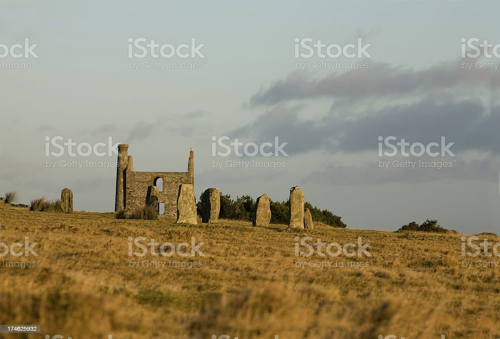 hurlers with engine house stock photo