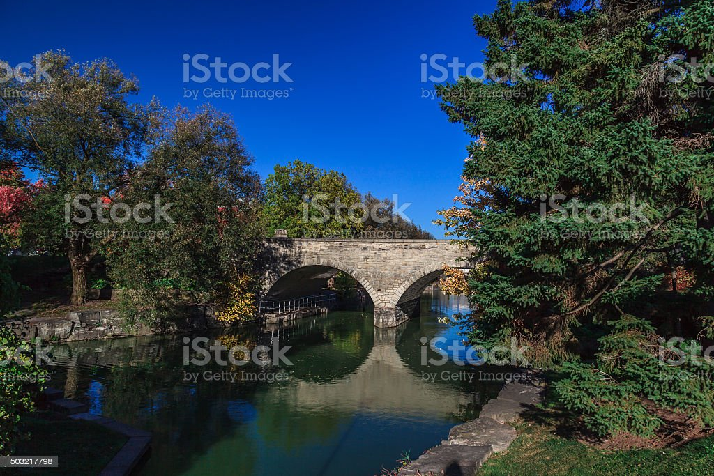 Huron Street Bridge in Stratford stock photo