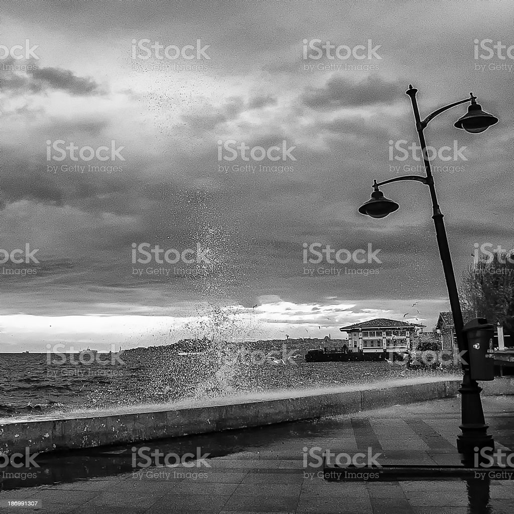 Hurricane and Street Lamp stock photo