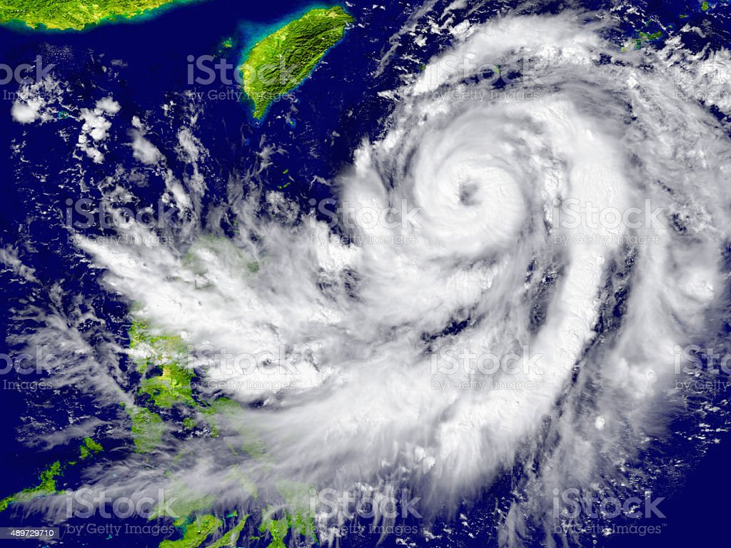 Hurricane approaching Southeast Asia stock photo