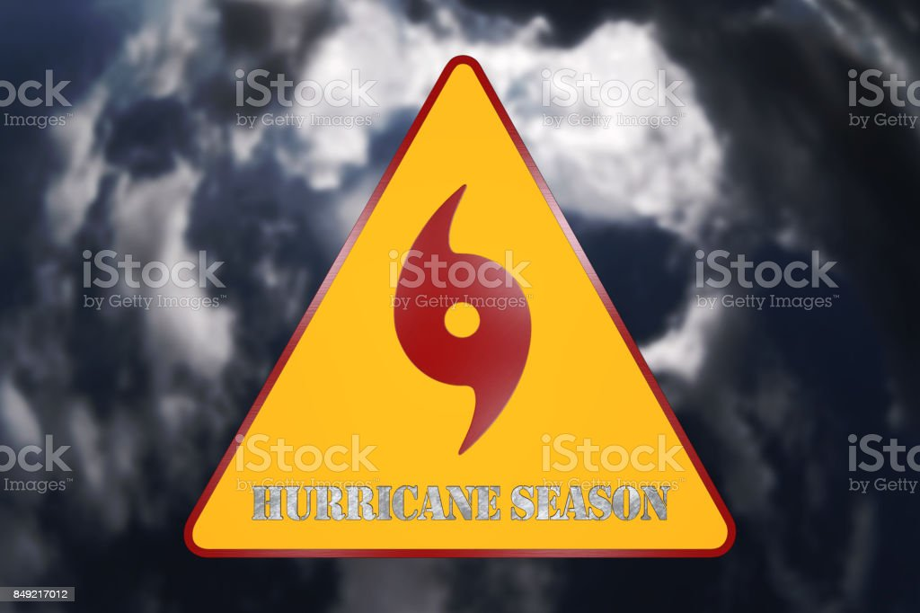 Hurricane Danger Sign and Storm In The Background 3D Rendering stock photo