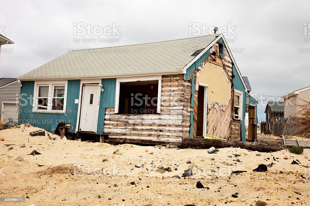 Hurricane Destroys House at NJ Shore stock photo