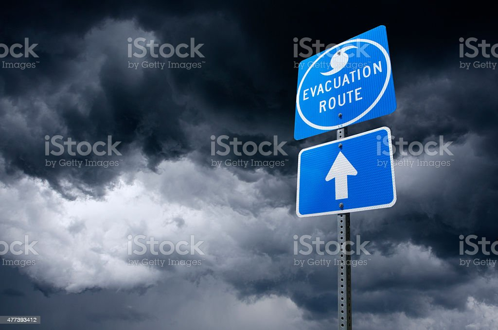 Hurricane Evacuation Road Sign stock photo