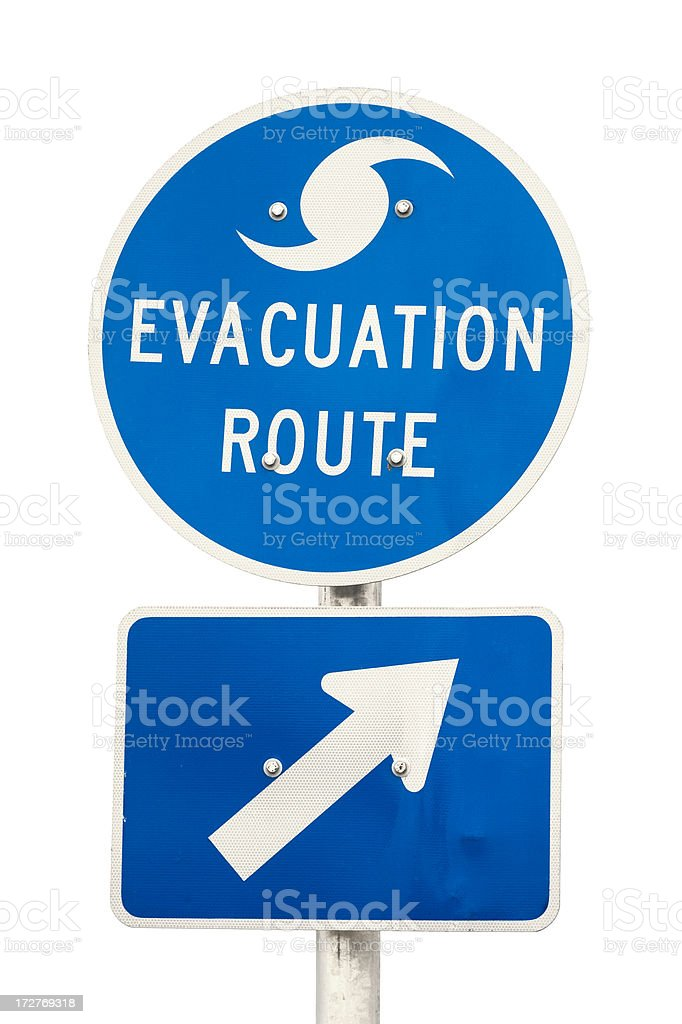 Hurricane Evacuation Route Road Sign - Isolated stock photo