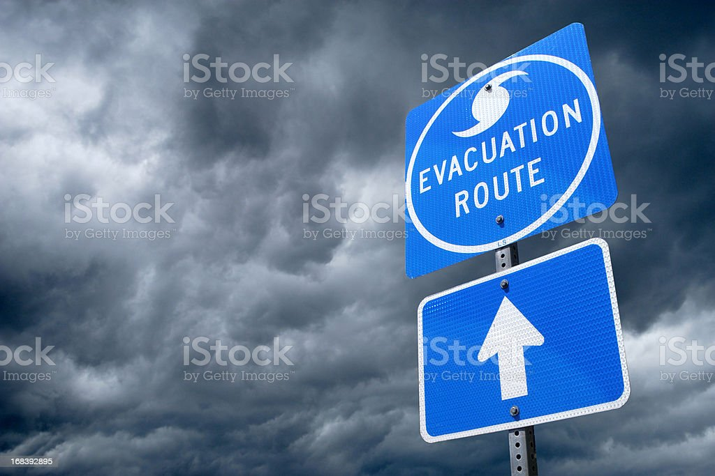 Hurricane Evacuation Route Road Sign stock photo
