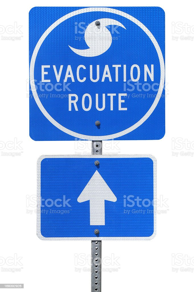Hurricane Evacuation Route Road Sign stock photo