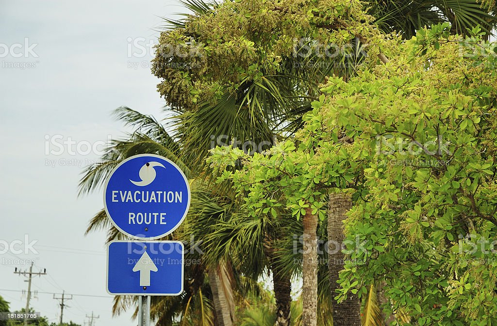 Hurricane Evacuation Route Sign on Sanibel Island Florida stock photo