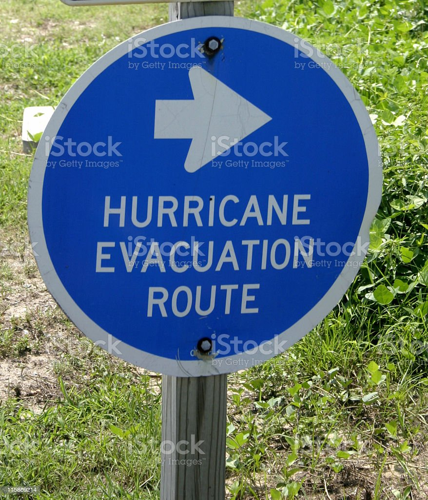 Hurricane Evacuation Route Sign royalty-free stock photo