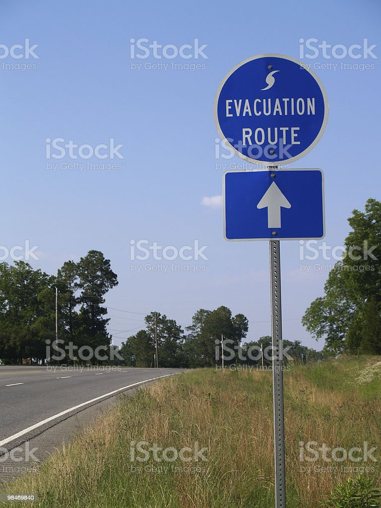 Hurricane Evacuation Route Sign stock photo