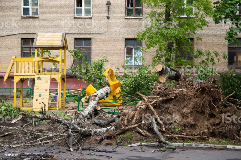 Hurricane in Moscow stock photo