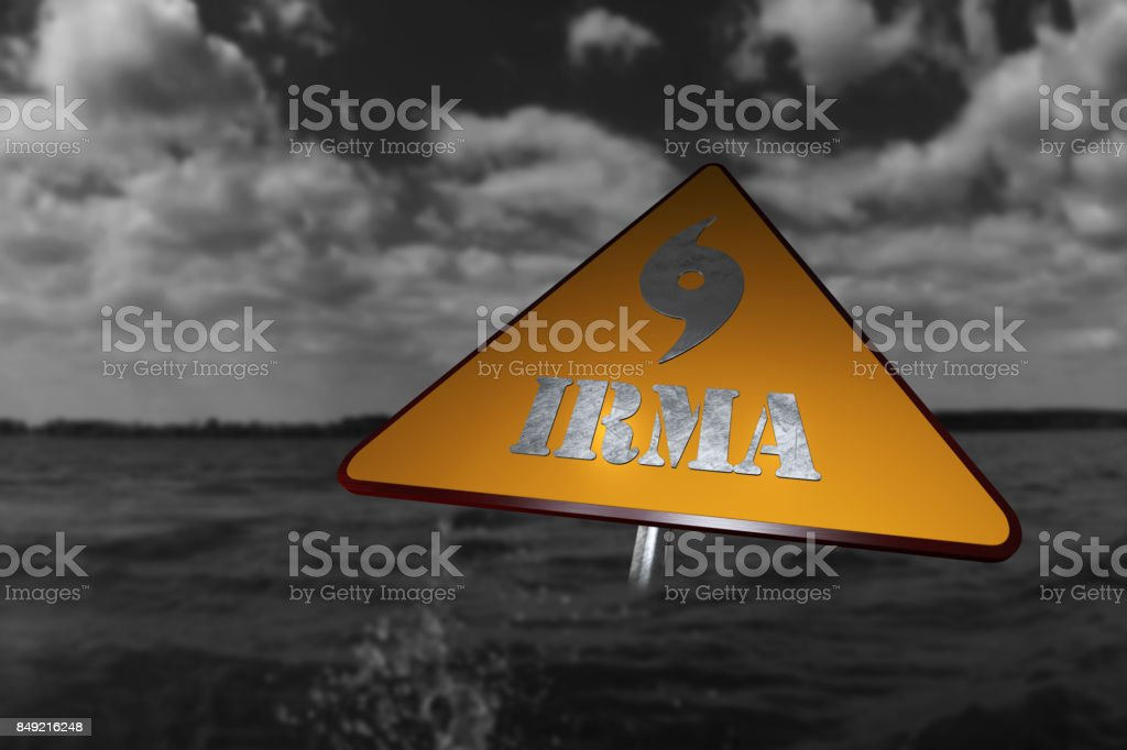 Hurricane Irma Danger Sign and Storm In The Background 3D Rendering stock photo