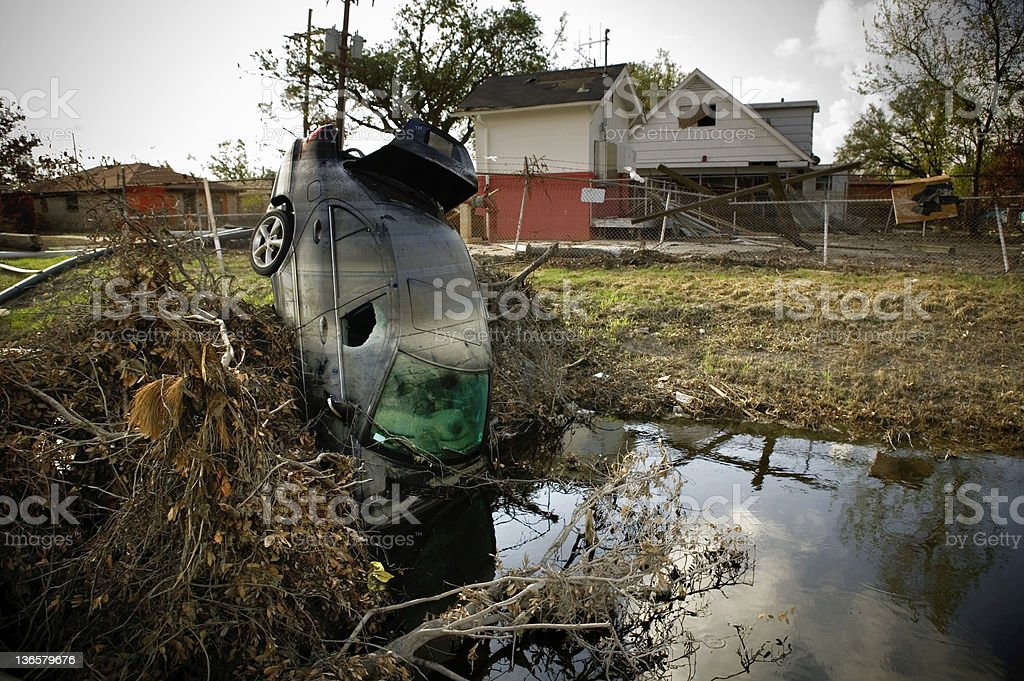 Hurricane Katrina Car In Culvert stock photo