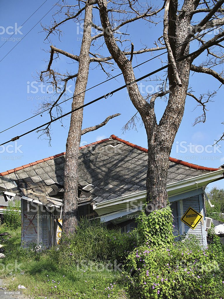 Hurricane Katrina Houseslide royalty-free stock photo