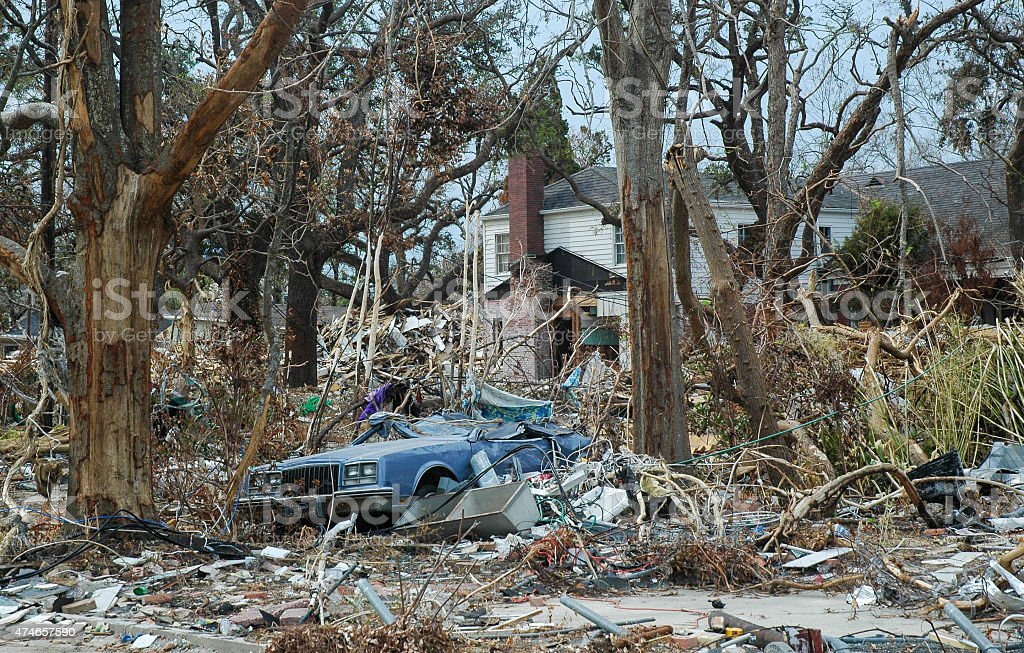 Hurricane Katrina Storm Damage Crushed Car stock photo