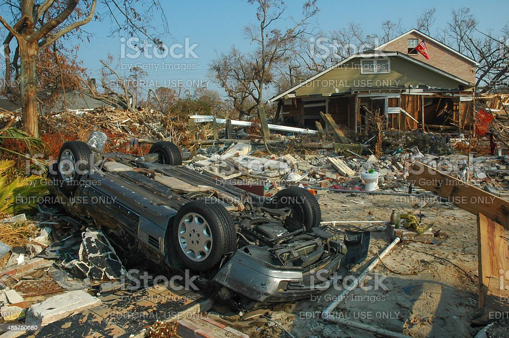 Hurricane Katrina Storm Damage Overturned Car stock photo