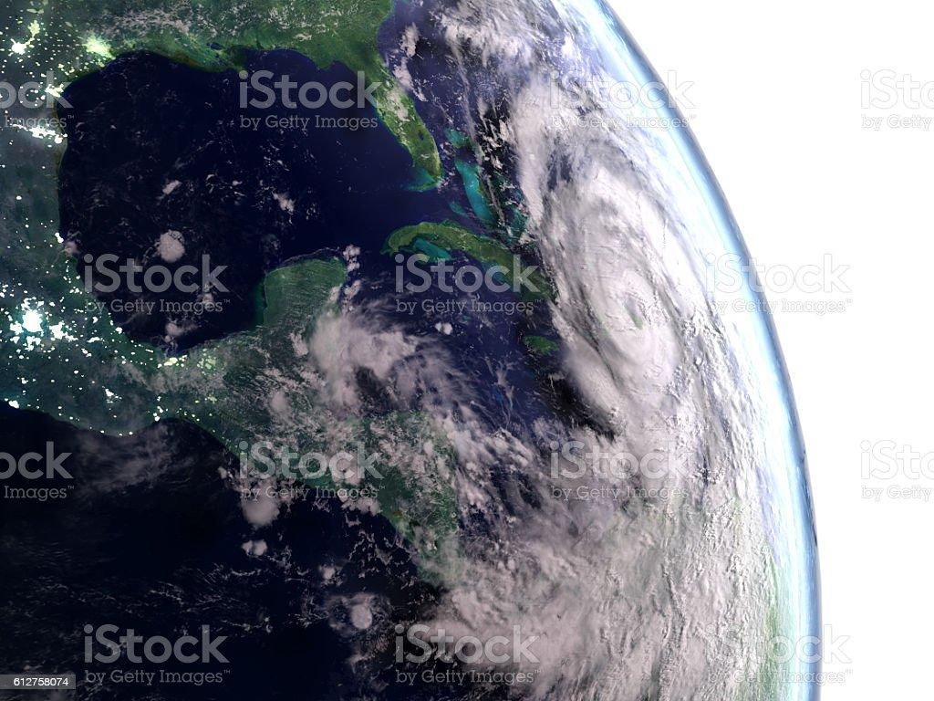 Hurricane Matthew above Cuba stock photo