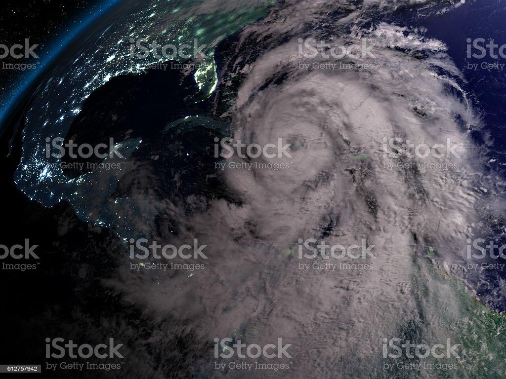 Hurricane Matthew at night stock photo