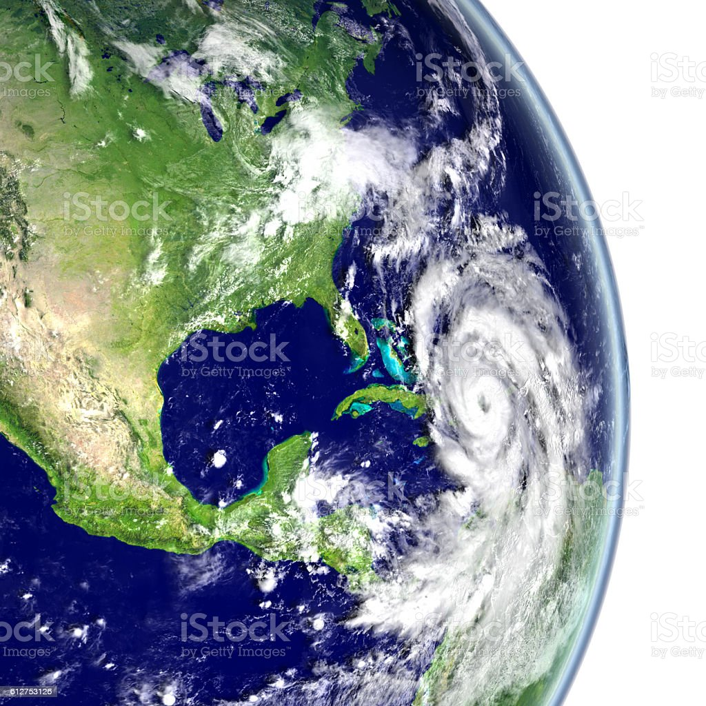 Hurricane Matthew in Caribbean stock photo