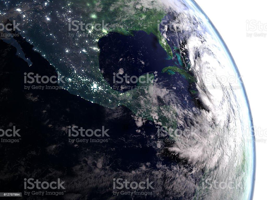 Hurricane Matthew in early morning stock photo