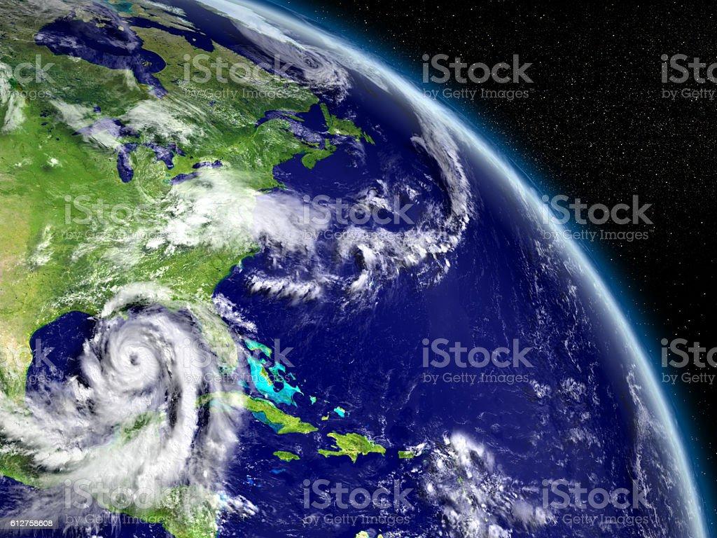 Hurricane Matthew in Mexican gulf stock photo