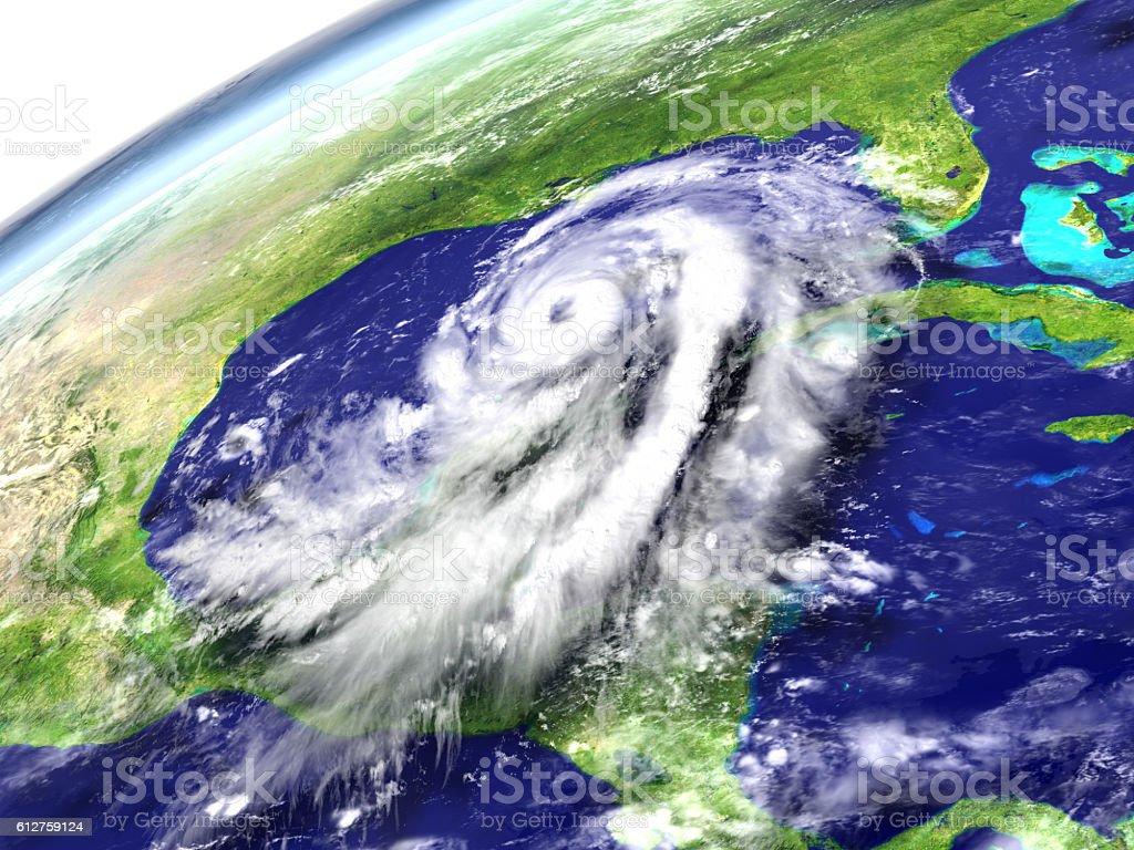 Hurricane Matthew near Florida stock photo