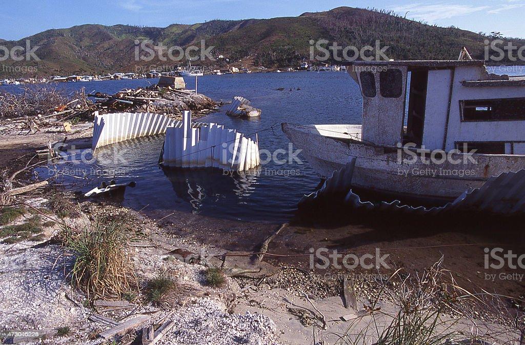 Hurricane Mitch Coastal Damage Savanna Bight Guanaja Bay Islands Honduras stock photo