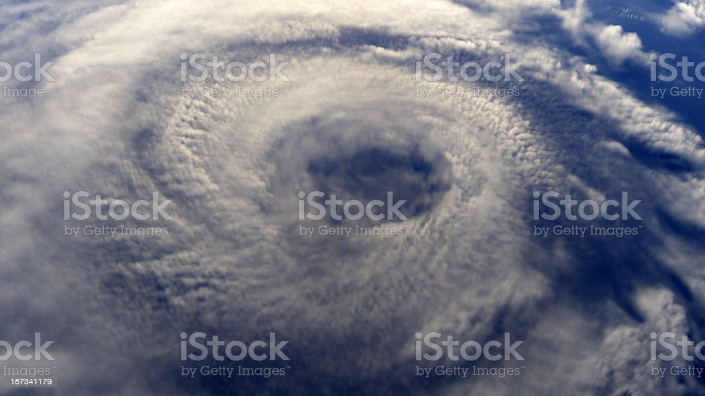 Hurricane on earth viewed from space stock photo