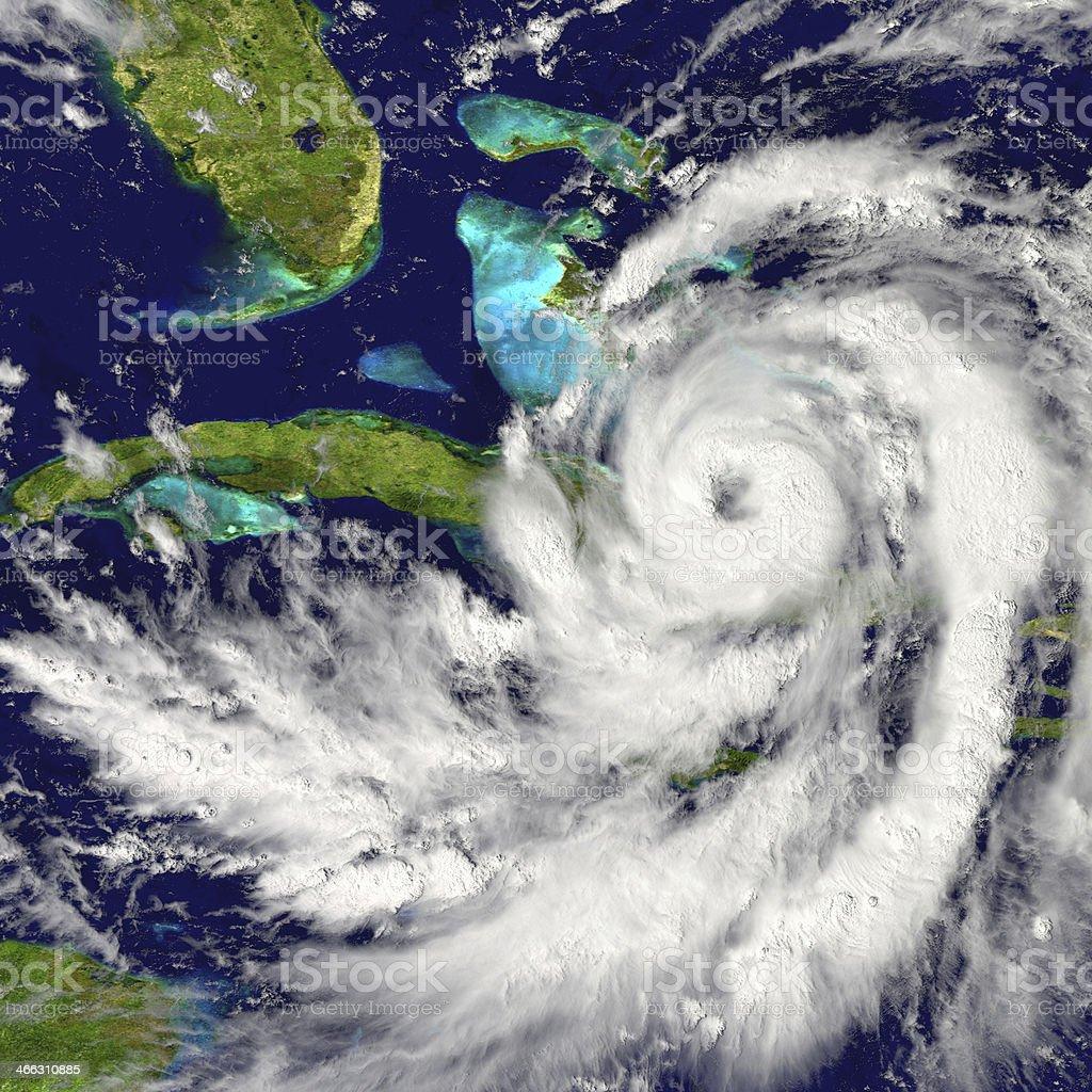 Hurricane over Cuba stock photo
