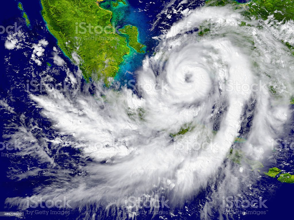 Hurricane over Southeast Asia stock photo