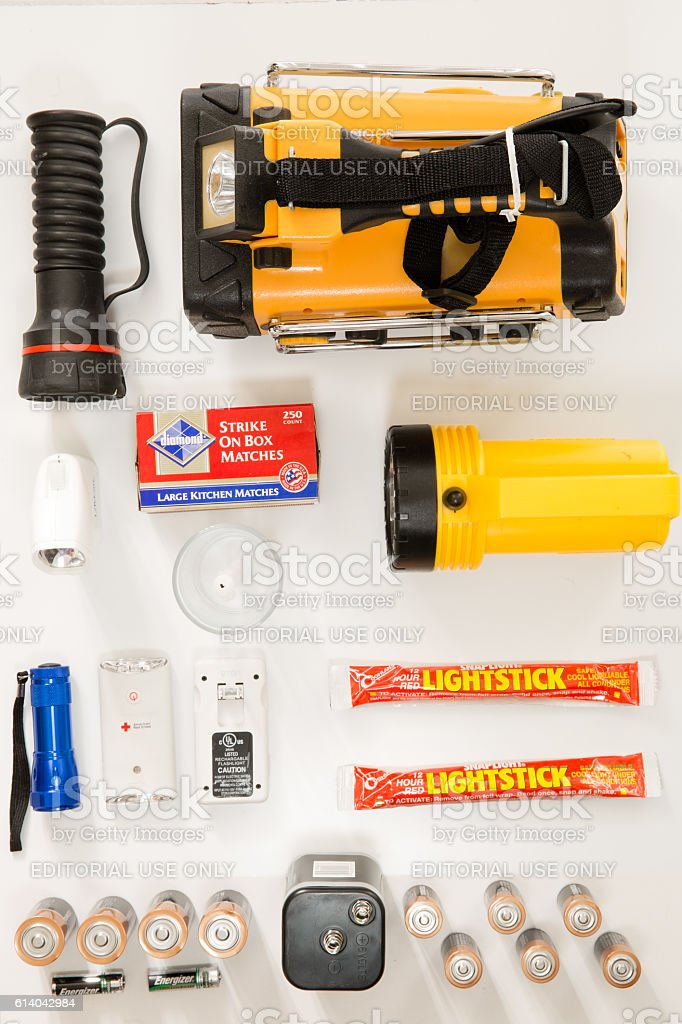Hurricane Preparedness, Flashlights (Editorial) stock photo