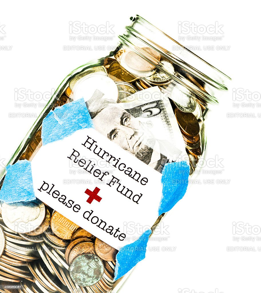 Hurricane Relief Fund stock photo