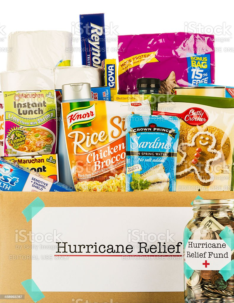 Hurricane Relief Grocery Collection and Donation Jar stock photo