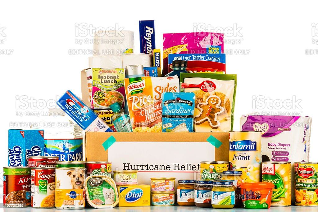 Hurricane Relief Grocery Collection stock photo