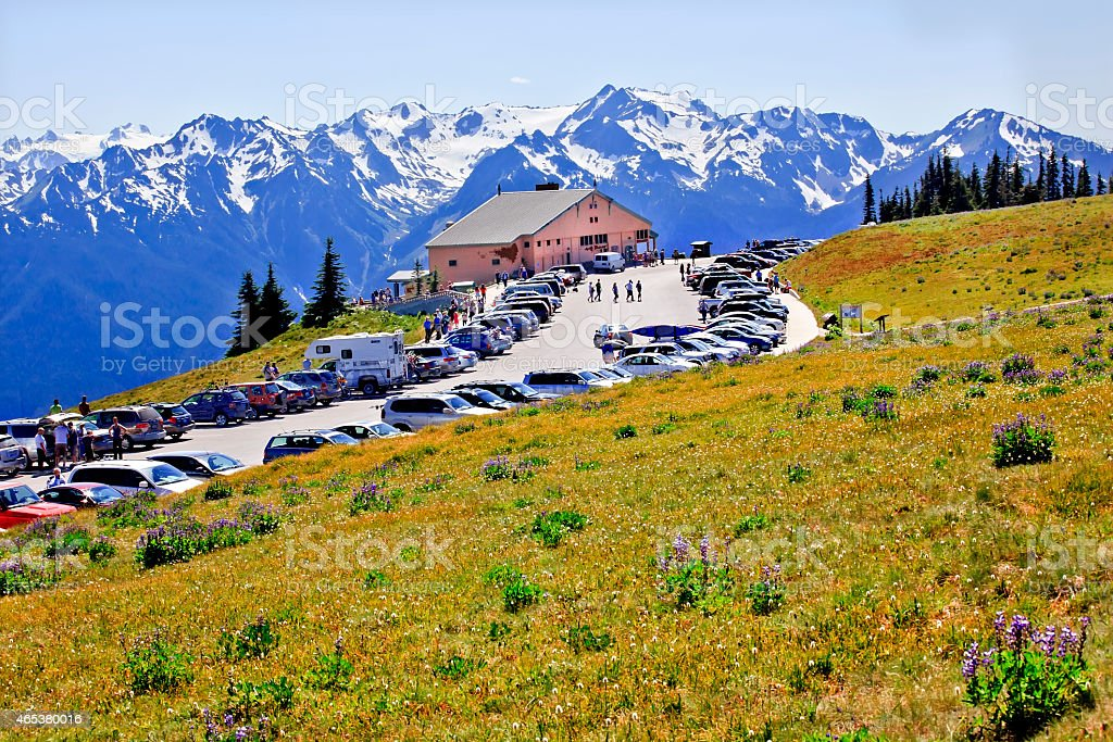 Hurricane Ridge Visitor Center Olympic Ntional Pak Washington stock photo