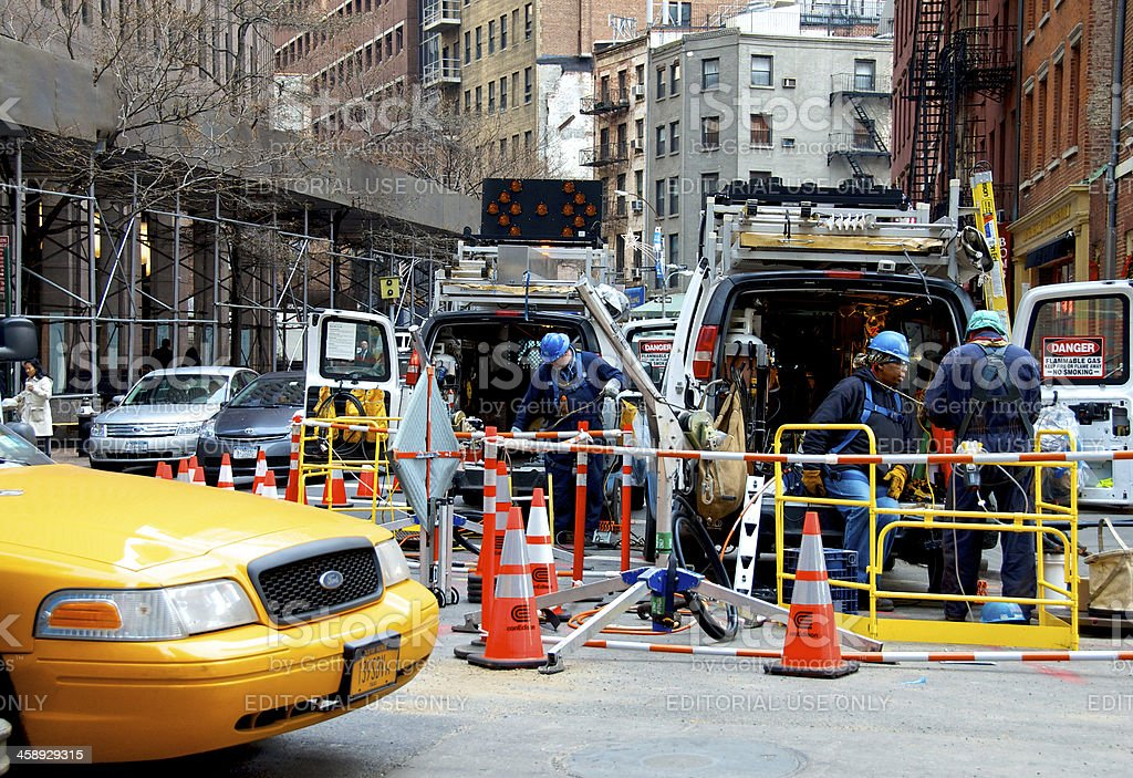 Hurricane Sandy 6 Weeks Later, Workers in Lower Manhattan, NYC stock photo