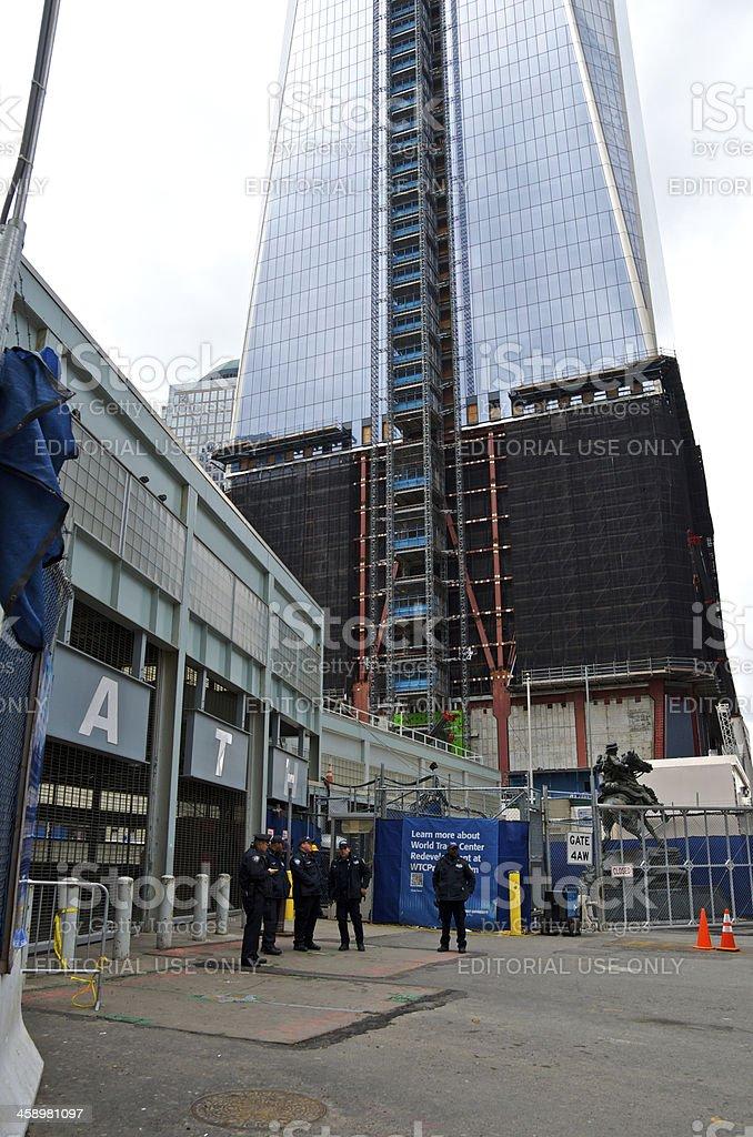 Hurricane Sandy aftermath, Closed PATH Railroad Station, Ground Zero, NYC stock photo