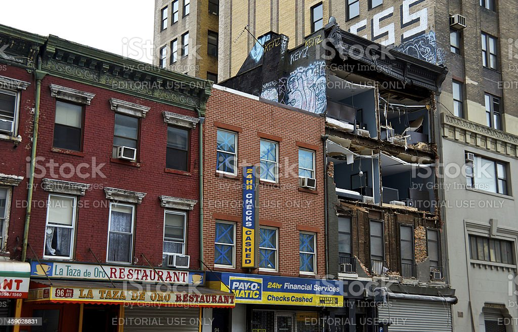 Hurricane Sandy aftermath, Collapsed building facade, Chelsea, New York City stock photo