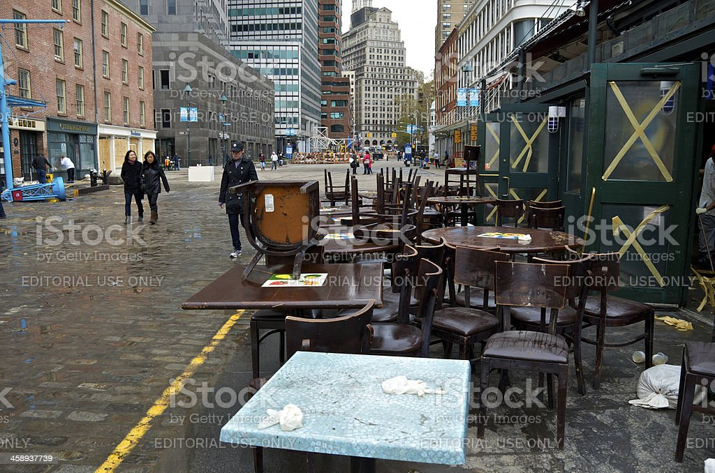 Hurricane Sandy aftermath, Damaged restaurant furniture, Lower Manhattan, NYC stock photo